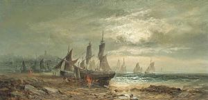 William Thornley, Careening the fishing boats at low tide, moonlight