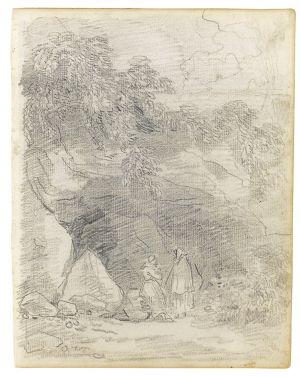 Hubert Robert - Monks Conversing by a Rocky Outcrop