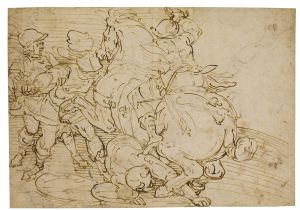 Giovanni Battista Castello - Recto: Battle scene with mounted and foot soldiers