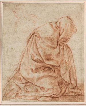 Guilio Carpioni - Monk in full robes kneeling in prayer with silhouette in upper left