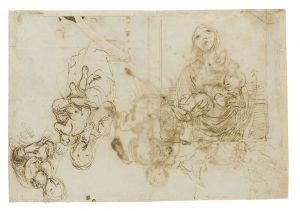 Francesco Maffei - Verso: a female nude left and soft outline of a male nude right; verso (not shown): Saint Anthony and the Christ Child