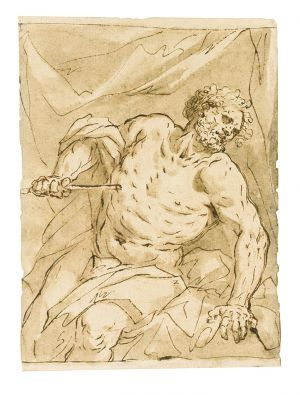Giovanni Battista Langetti - Male nude in draped cloth stabbing himself; likely the death of Cato