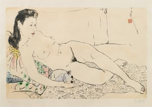 Pan Yuliang - female reclining nude with a cat