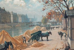 De Villars, Loading Carts on the Banks of the Seine, Euopean C.19th and Victorian Art.jpg