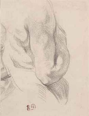 ugene-Victore-Ferdinand-Delacroix (Saint-Maurice 1798-1863 PARIS) - Torso of a male nude from the back