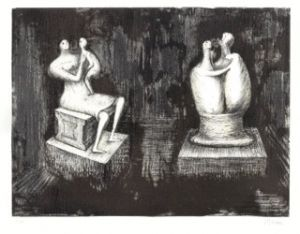 Henry Moore O.M., C.H. (British, 1898-1986) Sculptures of Mother and Child and of Lovers Against Dark Interior