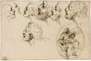 Agostino Masucci - Studies For The Head Of St. Peter And A Separate Study Of A Prophet