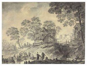 Jean Pillement - Washerwomen and fishermen at a stream, a village beyond